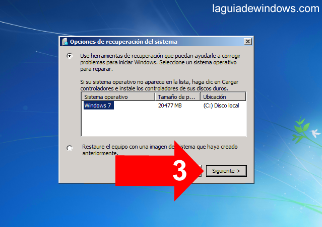 Reparar el inicio en Windows 7 (3/5)