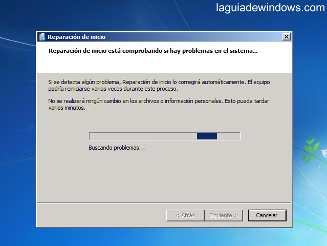 Reparar el inicio en Windows 7 (5/5)